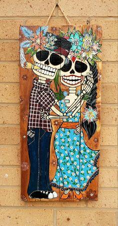 Wood Pallet Art, Wood Art, Painted Wood Walls, Hand Painted, Diy Deco Rangement, Skeleton Art, Skeleton Makeup, Sugar Skull Art, Sugar Skulls