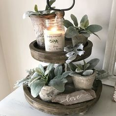 Loving that it's staying lighter later! Spring is right around the corner Happy Thursday! Loving that it's staying lighter later! Spring is right around the corner Diy Home Decor, Room Decor, Tray Styling, Moraira, Tiered Stand, Farmhouse Chic, Tray Decor, Rustic Decor, Fall Decor