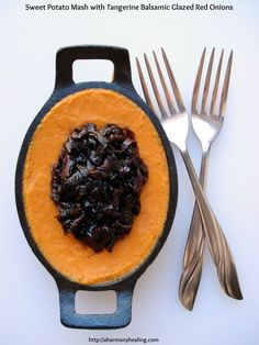 Sweet Potato Mash with Tangerine Balsamic Glazed Red Onions is so delicious!   #sweetpotato #recipes