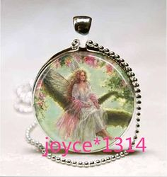 Vintage fairy Cabochon Tibetan silver Glass Chain Pendant Necklace @XP-1037 #Unbranded