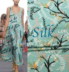 "Mint Silk. Leaf Print Silk. Green silk fabric. 42"" wide. 12 momme. SS100895"