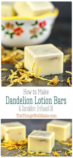 DIY Masque : Description How to make dandelion infused oil for making homemade dandelion lotion bars. Dandelion helps sooth irritated skin, and these homemade lotion bars are a convenient, non-messy way to moisturize your skin. Diy Lotion, Lotion Bars, Homemade Skin Care, Homemade Beauty Products, Lush Products, Homemade Facials, Lotion En Barre, Diy Cosmetic, Dandelion Oil
