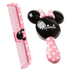 Disney Minnie Brush and Comb Set. Brush with extra-soft bristles. Dual-density comb for both thick or thin and wet or dry hair. Minnie Mouse, Pink Minnie, Disney Mouse, Disney Gift, Baby Mouse, Toddler Stocking Stuffers, Baby Hair Brush, Disney Babys, Baby Accessoires
