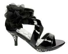 Kids Strappy High Heel Dress Sandals Flower Black rhinestones girl shoes...how cute is this for dress up.