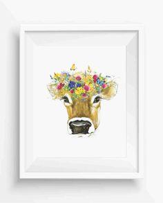 Cow,Watercolor Cow,Field Flower,Farm Decor,Home Decor,Digital Prints,Wall Art Printable,instant Download