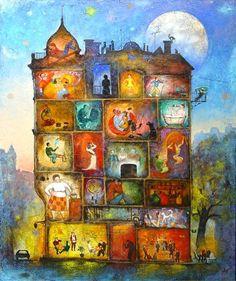 "Nikolay Bogomolov — ""My house"", oil on canvas, 90*75сm, 2004 / Saint Petersburg, Russia"
