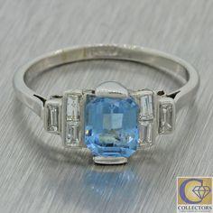 1920s Antique Art Deco Estate Solid Platinum 1.15ctw Aquamarine Diamond Ring