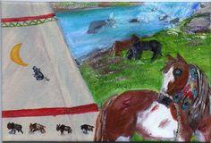 OSWOA 4x6in Org Oil painting Native American Indian Horse TeePe River Nova Hart #Realism