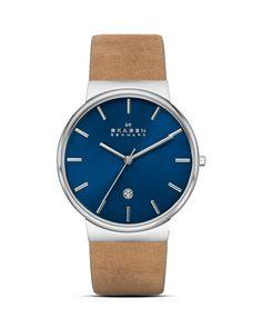 Skagen Ancher Leather Strap Watch, 40mm