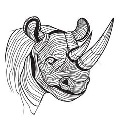 Rhino rhinoceros animal head as symbol for mascot or emblem design, logo vector illustration for t-shirt. Sketch tattoo design.