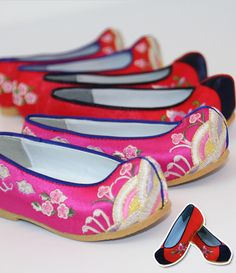 Korean tranditional girl Shoes Hanbok Flower shoes Kids Children dress wedding