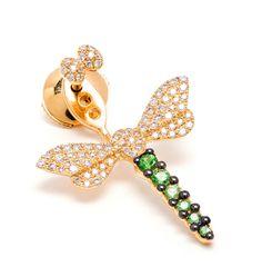 Boucle d'oreille libellule or jaune, diamants et tsavorites - Boucles d'oreilles - Bijoux