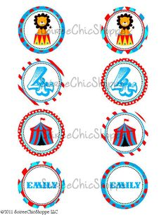 Circus themed cupcake toppers.