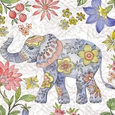 Add refreshing style to your favorite space with this whimsical Elephant 2 canvas wall art. Elephant Colour, Elephant Love, Elephant Afrique, Elefante Hindu, Elephant Canvas, Foto Transfer, Asian Elephant, Elephant Tattoos, China Painting