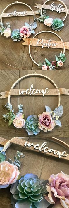 Pretty welcome wreath with embroidery hoop and succulents,Crafty Projects Hübscher Willkommenskranz mit Stickrahmen und Sukkulenten Like: More from my siteIch. Rustic Decor, Farmhouse Decor, Farmhouse Front, Farmhouse Signs, Farmhouse Windows, Rustic Gifts, Rustic Wood, Diy Bebe, Succulent Wreath