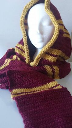 Hogwarts House Hooded Scarf by TheNiftyShop on Etsy