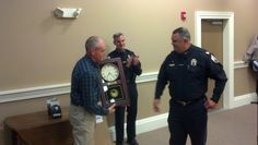 Captain Michael Dudash, Council Chair Finlay Rothhaus-30 Years of Service