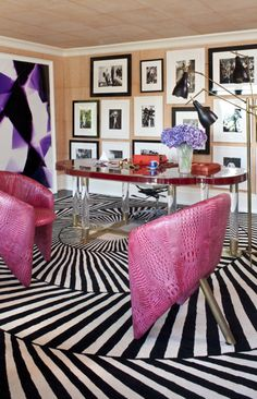 Fun and funky office with a great wall grouping! | Kelly Wearstler Design | Style Carrot