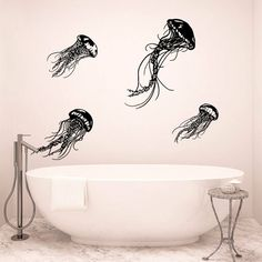 Set of 4 Jellyfishes Wall Decals, 4 Jellyfishes Wall Stickers, Jellyfish Bathroom Wall Art Decor, Jellyfish Wall Design, Beach Decor