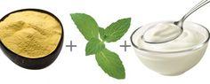 1 col. (sopa) de fubá 2 col. (sopa) de iogurte natural Folhas de hortelã Modo de preparo: esmague a hortelã até obter um suco. Depois, misture-o com os outros ingredientes.  Como usar: aplique a máscara e deixe-a agir por 15 minutos. Depois, lave o rosto com água corrente.  Dica: depois de lavar o rosto, você pode fazer um chá de hortelã bem concentrado e, com a ajuda de um algodão, passar na pele para refrescar.