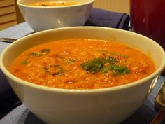 Lentil soup with coconut milk and ginger. A very filling and pert soup where the ginger and the coconut milk permeate the flavor. If you rather serve the dish as a stew, leave the water out.