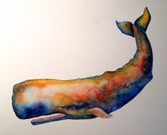 Sperm Whale watercolor illustration available on etsy ©Michelle Scott, owner of dotsofpaint Studio in Northern California.  ALL RIGHTS RESERVED. dotsofpaint.com