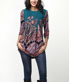 Another great find on #zulily! Emerald Paisley Notch Neck Pin-Tuck Tunic #zulilyfinds