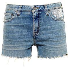 Saint Laurent Studded Denim Shorts ($735) ❤ liked on Polyvore featuring shorts, blue, summer shorts, ripped shorts, destroyed denim shorts, studded denim shorts and denim short shorts