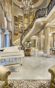Most Expensive Fancy Houses In The World Fancy House Interior Design Styles. Home Interior Designs. Home Decorations. Future House, Grand Staircase, Winding Staircase, Grand Foyer, Staircase Ideas, Grand Entrance, Curved Staircase, Staircase Design, House Goals