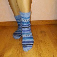 Unisex wool blue handmade knitted socks. by Ramzijashop on Etsy