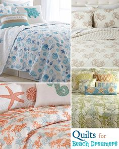 Dreamy Beach Quilts...http://www.completely-coastal.com/2016/08/coastal-quilt-sea-life-cotton-quilts.html Beach Quilt Sets that Feature Shells, Coral, and Sea Life...to Transport you to the Shore... If only in your Dreams.
