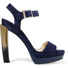 Jimmy Choo Dora elaphe-trimmed suede sandals ($925) ❤ liked on Polyvore featuring shoes, sandals, blue, blue suede sandals, ankle strap sandals, suede platform sandals, blue high heel sandals and ankle wrap sandals
