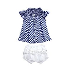 gingham top + white bloomers set