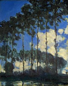 """""""Poplars On The Banks Of The Epte, Summer"""" by Claude Monet, 1891 ・  Style: Impressionism ・ Genre: landscape"""