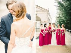 Simplicity & details// Kara & Curt's Bethesda, Maryland Wedding// ft. #DonnaMorgan bridesmaid dresses in Berry Bouquet-- now on FINAL SALE// Elizabeth Fogarty Photography #weddingdress