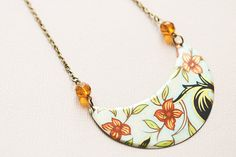 Orange Flower Necklace with Black Coral and by MusingTreeStudios