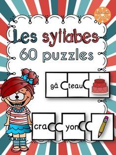 Les syllabes - 60 puzzles de 2 syllabes - French Syllables