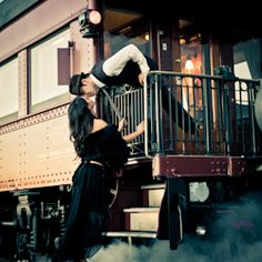 Creative train engagement shoot. Trains so romantic and vintage!