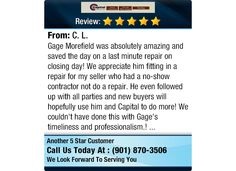 Gage Morefield was absolutely amazing and saved the day on a last minute repair on...