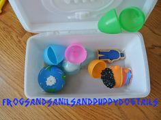 Toddler fun- wipe box with toys- hmmmm...great idea for pack n play time while big kids do school.  different box each day
