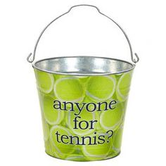 """Perfect for catching keys and mail in the foyer or stowing hand towels in your guest bathroom, this tennis-themed galvanized metal bucket brings a charming touch to your home.  Product: BucketConstruction Material: Galvanized metalColor: Yellow, white and blackFeatures:  Tennis motifOne handleDimensions: 11"""" H x 11"""" DiameterCleaning and Care: Wipe down with a damp cloth. Do not immerse in water."""