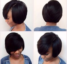 It doesn't get any better than this! Short Black Haircuts, Black Bob Hairstyles, Quick Weave Hairstyles, Round Face Haircuts, Cute Hairstyles For Short Hair, Pretty Hairstyles, Short Hair Cuts, Curly Hair Styles, Natural Hair Styles