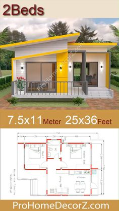 Small Modern House Design 7.5x11 Meter 25x36 Feet House Short Description: -Car Parking and garden -Living room, -Dining room -Kitchen -2 Bedroom, 1 bathroom -washing room House Design 3d, Bungalow Haus Design, House Front Design, Small House Plan Design, House Design Plans, 2 Bedroom House Design, Kerala House Design, Beautiful House Plans, Simple House Plans