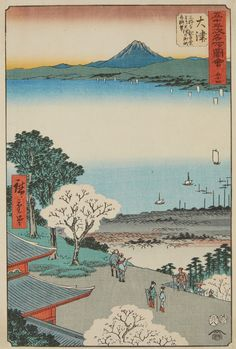 Utagawa Hiroshige (1797–1858)  Two ôban from series Gojûsan tsugi meisho zue. Signed: Hiroshige hitsu. Publisher: Tsutaya Kichizô. Censor: aratame. a) No. 24. Title: Shimada, Ôigawa Shungan. River crossing. Date: 7/1855. b) No. 54. Title: Ôtsu. Miidera Kannondô yori Ôtsu no machi kosui chôbô. Lake Biwa. Date: 8/1855. (2) Very good impressions, still very good colours, mounted in mats, a) two margins trimmed, two margins renewed, b) blind printing, margins slightly trimmed, backed.