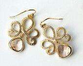 Champagne Crystal Earrings, Peach Earrings Dangle, Gold Chandelier Earring, Drop Earrings, Wedding Jewelry, Mother's Day, Bridesmaid Jewelry