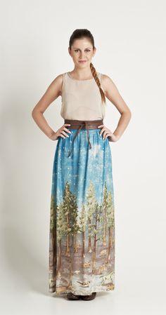 Saia Longa Barrado Floresta | Vestuário | Antix Store