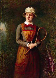 Attributed to Samuel Reid, Scottish Girl, c. 1887, oil on canvas, Wimbledon Lawn TennisMuseum.