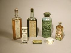Over-the-counter controlled substances (ca. 1900)    Dangerous substances could be easily purchased without prescription: (left to right) heroin cough remedy, cannabis for children's diseases, opium for abdominal pain.