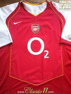 6041fd5bb Relive Arsenal s 2004 2005 season with this vintage Nike home football shirt.  Arsenal Football