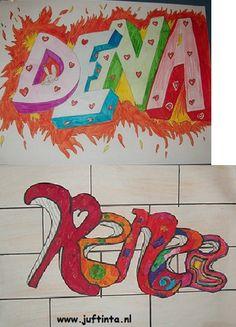 Leerlingen maken een Graffiti tekening van hun naam. Met daarachter een echte muur van wasco.